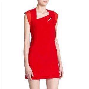 The Kooples Red Asymmetrical Cutout Dress